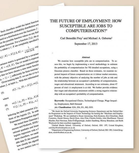 フレイ氏らの論文は全72ページで、後半に702職種のランキングがある