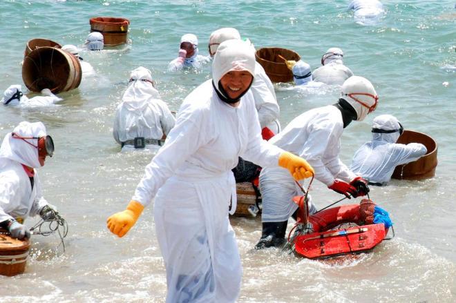 再現された御潜神事で一斉に沖に向かう海女たち=2013年、三重県鳥羽市