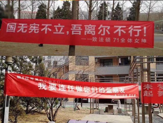 3月8日の婦女節(国際女性デー)に合わせ、国家主席の任期制限撤廃を皮肉った大学生の横断幕を集めた画像