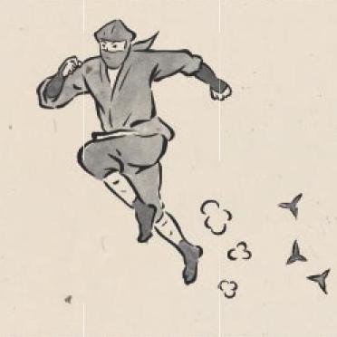 SHINOBI-TRAIN内のポスター「戦わなければ無敗。」のイラスト