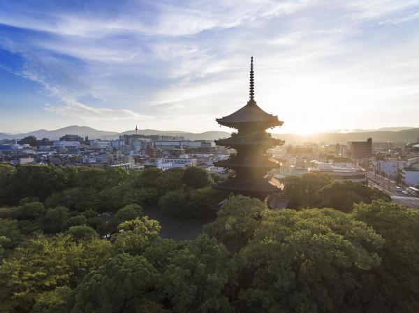 朝日に照らされた東寺の五重塔=京都市南区、内田光撮影