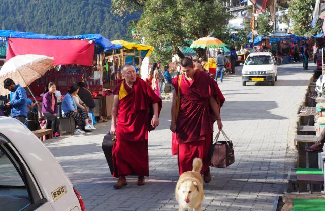インド北部ダラムサラの町には、チベット仏教の僧侶たちが行き交う=2018年3月7日,、奈良部健撮影