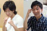 ボクシングをしていた高校生の頃の松江聡さん(左)。26歳になった今は福祉の現場で働く(右)