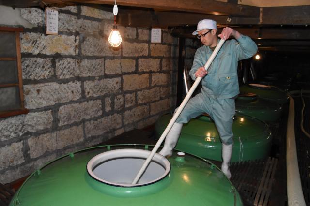 タンク内のもろみをかき混ぜる「櫂入れ」作業をする吉久保酒造の蔵人=水戸市本町