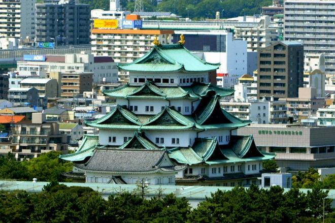 名古屋城=名古屋市中区の名古屋テレビ塔から