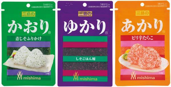 三島食品の三姉妹。左から「かおり」「ゆかり」「あかり」