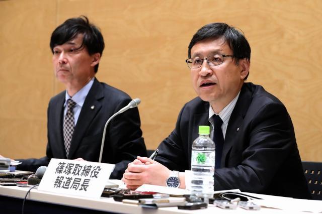 福田前財務事務次官のセクハラ発言問題について記者会見するテレビ朝日の幹部=4月19日、鬼室黎撮影