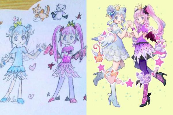 左が娘のイラスト、右が母が描いたイラスト