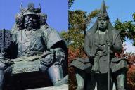 上杉謙信像(右)と武田信玄像