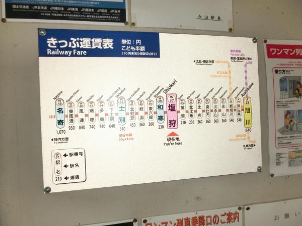 塩狩駅の運賃表