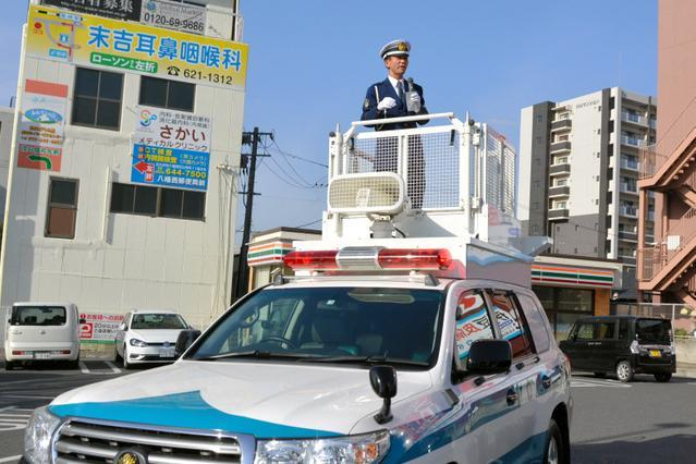 交通安全に特化した福岡県警のDJポリス・神矢直樹さん=2018年4月、北九州市、島崎周撮影