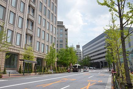通称「ソニー通り」。御殿山周辺に集まっていたソニーの社屋は「3号館」を除いて移転し、跡地は複合商業ビル「ガーデンシティ品川御殿山」が立つ=品川区