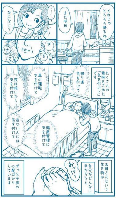 母との交流を描いた漫画「気をつけて」