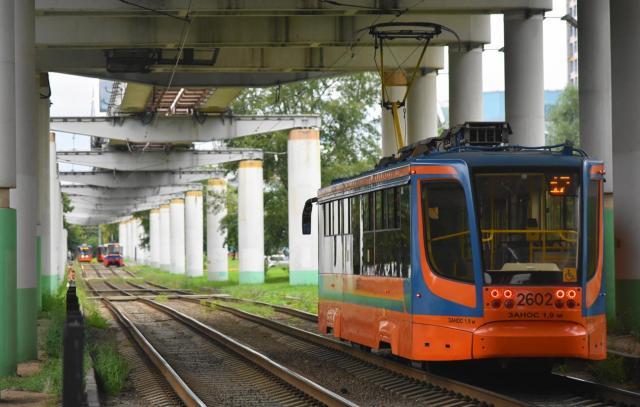 モノレールと併走する路面電車