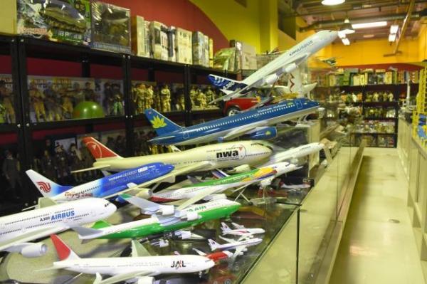 飛行機の模型も