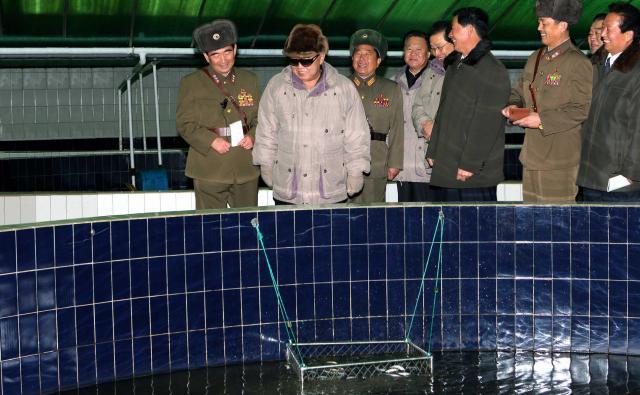 ウナギの養殖場を視察する金正日総書記(左から2人目)。国営の朝鮮中央通信が2010年12月に配信した=ロイター