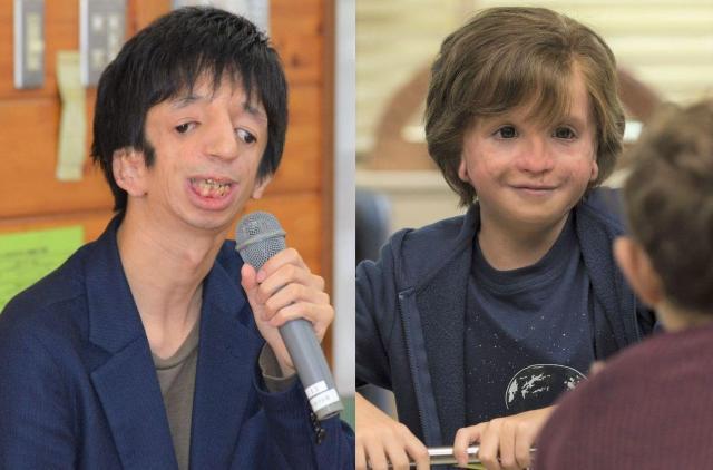 石田さん(左)と映画「ワンダー 君は太陽」のオギー