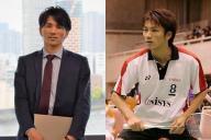 今は営業職として活躍するバドミントン元全日本王者の福井剛士さん、右は選手時代の福井さん