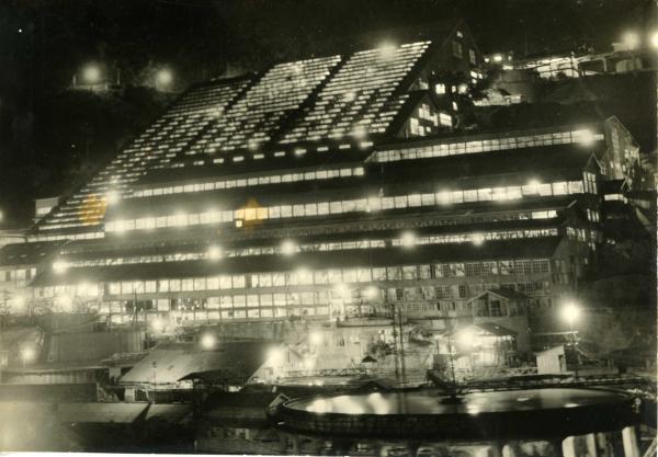 「不夜城」と呼ばれた神子畑選鉱場=兵庫県朝来市、朝来市教育委員会提供
