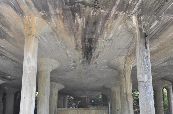 円形の建物の内部=兵庫県朝来市、小池寛木撮影