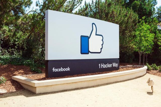 米国のフェイスブック本社にある看板