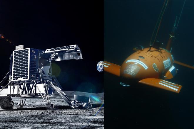 月面探査レースに挑んだ「ispace」(左)と、海底無人探査レースに挑戦中の「Team KUROSHIO」