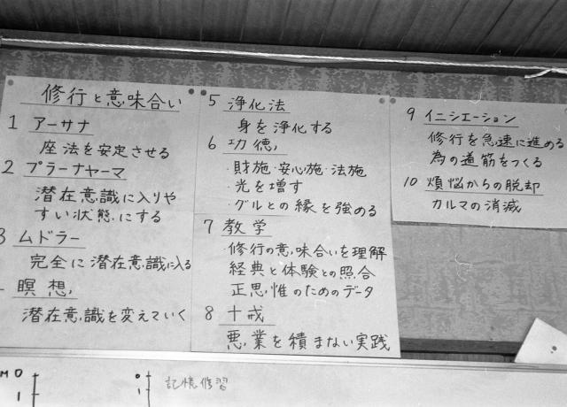 オウム真理教船橋支部の「道場」の壁に、「イニシエーション」など修行に関する言葉の説明が貼られていた=1995年8月、千葉県船橋市