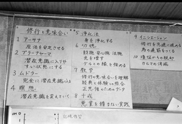 支部の壁に貼られた、「イニシエーション」など修行に関する言葉の説明=1995年8月