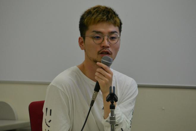 イベントで語る奥田愛基さん=2018年7月6日、東京・朝日カルチャーセンター新宿