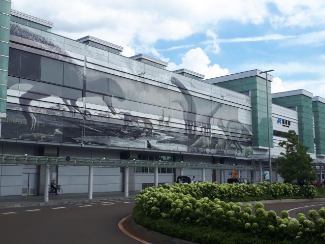 恐竜推しの強いJR福井駅=2018年、福井市