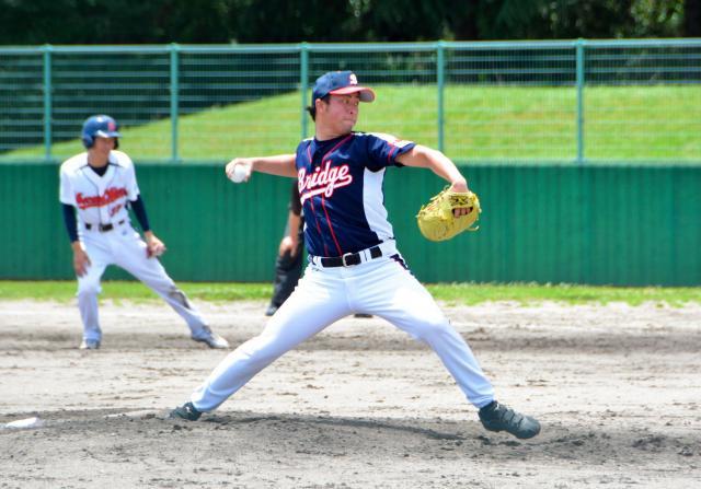 草野球で力強く投げ込む本田紘章さん=2018年7月1日、安来市吉岡町