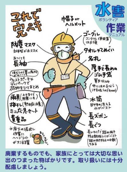 「水害ボランティア作業マニュアル」から、ボランティアの服装