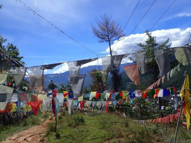 「BBSタワー」の丘には色とりどりの旗が掲げられている