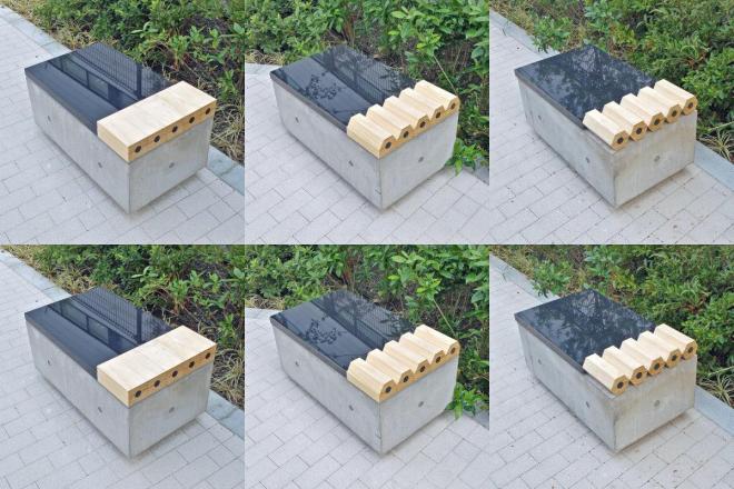 三菱鉛筆の本社新社屋に設置された「6つのベンチ」
