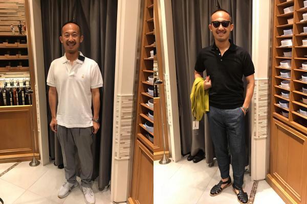 服装選びの例。右側の方は、頭よりもサングラスと黒っぽい服装に目がいき、薄毛の印象が薄れています。