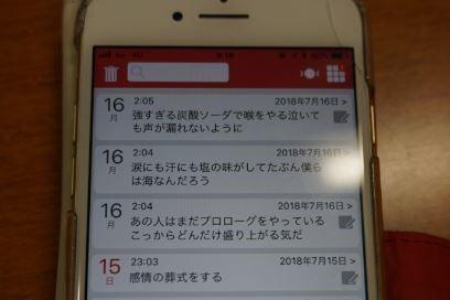 愛用している日記アプリ。「感情の葬式をする」というフレーズは、7月15日に書き留めた