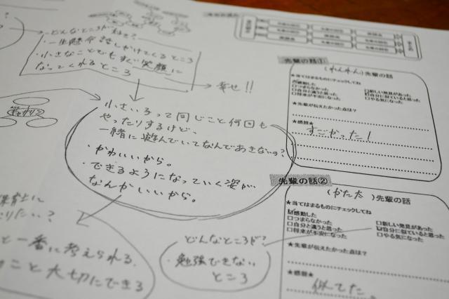 「カタリ場」では、生徒の考えを整理するために、対話しながら用意した教材に書き込んでいく(写真はサンプル)