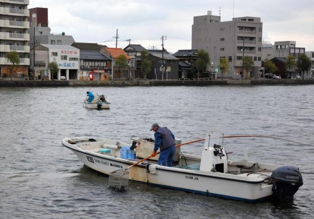 宍道湖に注ぐ大橋川でのシジミ漁=松江市