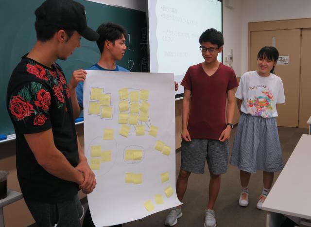 話し合いの結果を発表するA班のメンバー