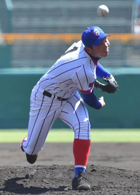 七回2死まで無安打投球だった下関国際の鶴田投手
