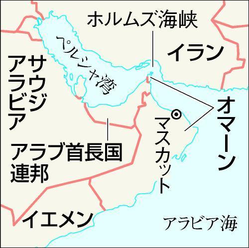 オマーン周辺の地図。ホルムズ海峡沿いに飛び地がある