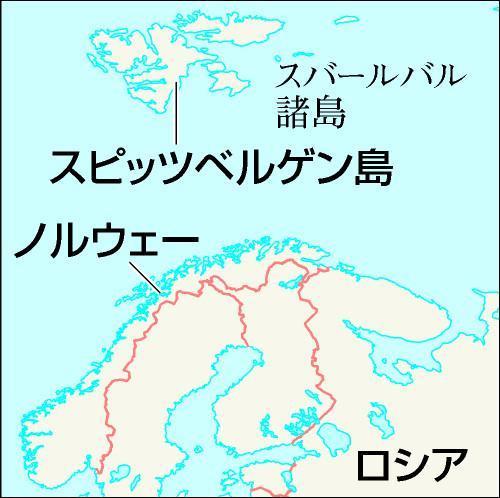 スピッツベルゲン島はノルウェー本土の北にある