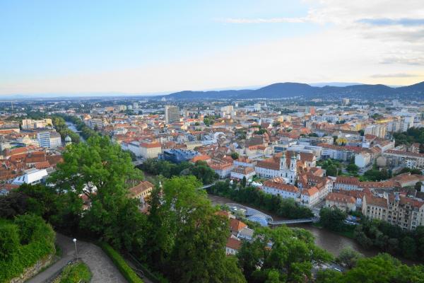 グラーツの城山から見た景色