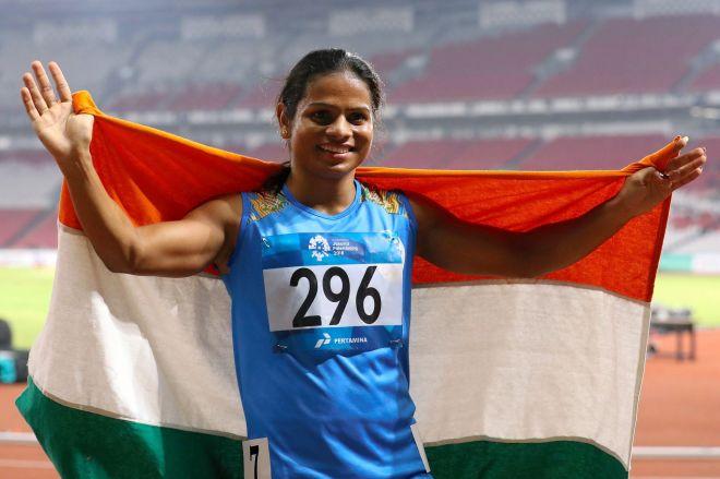 2018年8月、インドネシア・ジャカルタで開かれたアジア大会の陸上女子100メートルで銀メダルをとった、インドのデュティ・チャンド選手