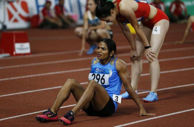わずかな差で金メダルを逃したデュティ・チャンド選手。それでも、初出場のアジア大会で、強烈な印象を残した=2018年8月