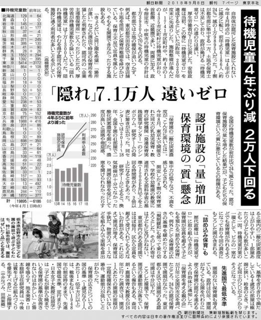 待機児童の実態を伝える2018年9月8日の朝日新聞朝刊(東京本社版)
