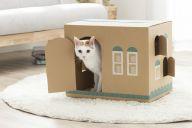 段ボールが猫の家に変身