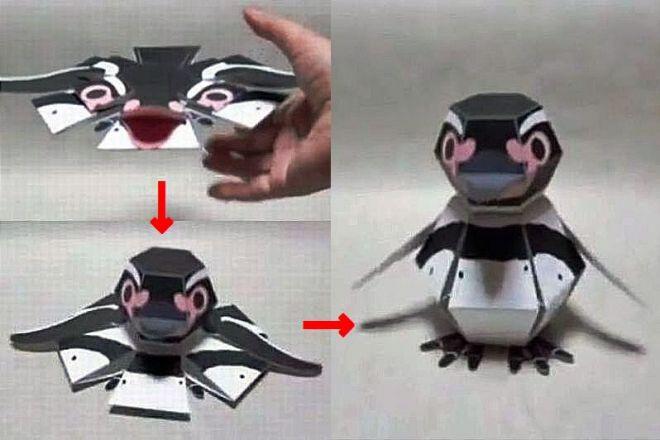 着地した瞬間に立体的になるペンギンのペーパークラフト