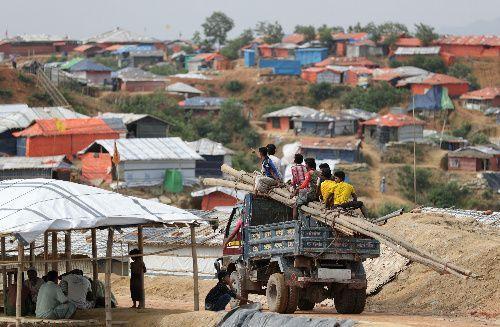 丘陵地帯一帯に仮設住宅が並ぶロヒンギャ難民のキャンプ。キャンプ内では住宅用の竹がトラックの荷台に載せられ搬送されていた=2018年8月4日、バングラデシュ・コックスバザール、杉本康弘撮影