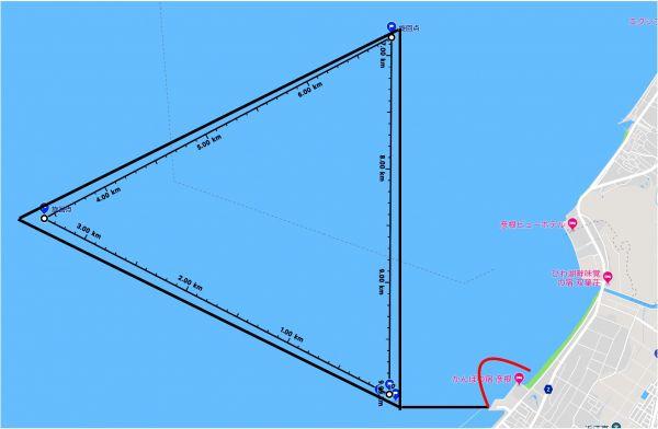 今回の飛行の計画ルート。赤線は実際の飛行=堺・風車の会作成